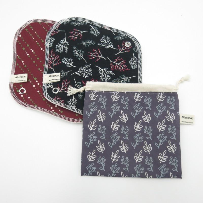 Lot de 2 serviettes avec pochette de rangement